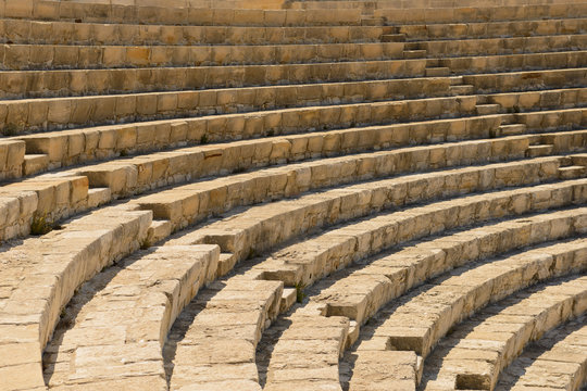 ancient antique amphitheater with seats for spectators