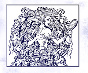 Boho diva woman with mirror illustration