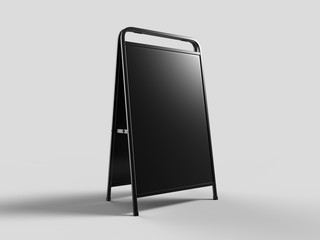 Blank full handle metallic outdoor advertising stand isolated, Clear street signage board mock up. Round Corner A-board with metal frame template. 3d rendering.