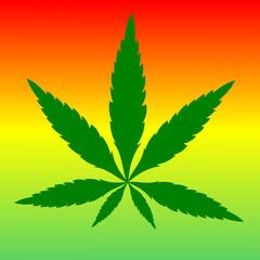 green marijuana leaf on color background ,illustration vector.