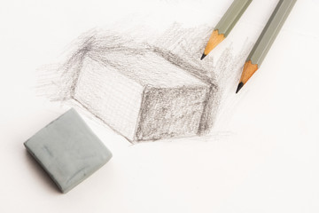 Drawing of artist by pencil on paper