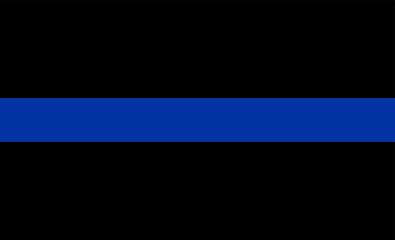 Thin blue line flag law enforcement symbol. American police flag vector.