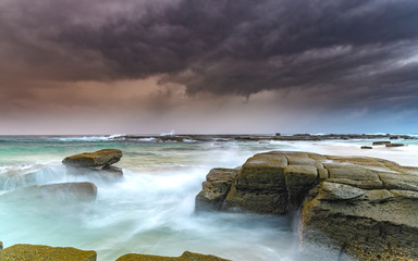 Moody and Cloudy  Morning Seascape