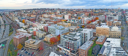 Capitol Hill Seattle Washington USA City Aerial Landscape Buildings Highway View