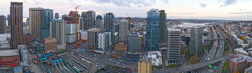 Seattle City Center Skyscraper Aerial Panoramic View