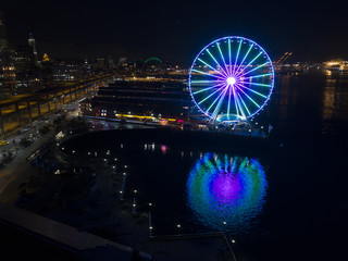 Seattle Washington USA Waterfront Night View