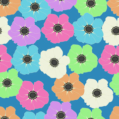 Seamless pattern of colorful poppy flowers on a blue background
