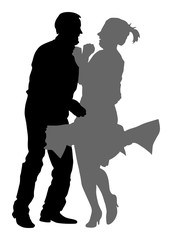 Elegant latino dancers couple vector silhouette illustration isolated on white background. Mature tango dancing people in ballroom night event. Senior dancer party.