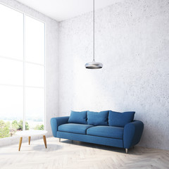 Concrete wall living room, blue sofa