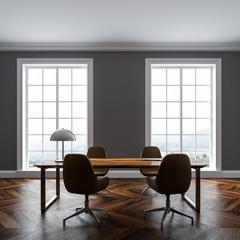 Luxury gray home office interior