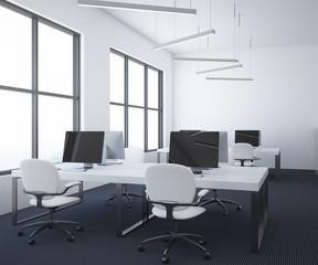 White table open plan office interior, dark floor