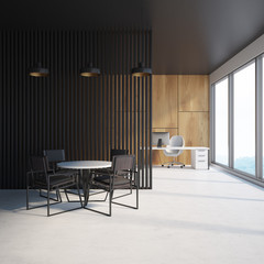 Black and wooden wall office waiting area