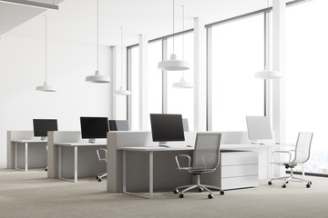 Loft white office corner