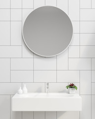 White tiles bathroom with a sink close up