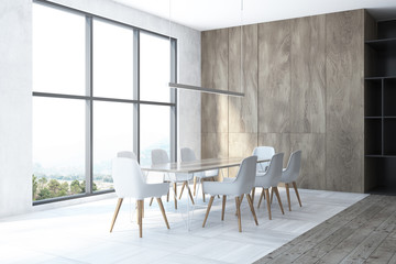 White and wooden dining room corner