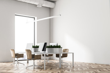 Eco style open plan office corner close up