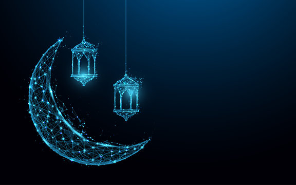 Crescent moon with hanging lamps Islamic Festival concept form lines and triangles, point connecting network on blue background. Illustration vector