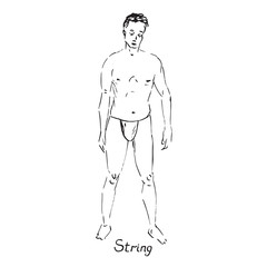 Portrait of sexy guy in strings type of swimsuit with inscription, hand drawn outline doodle, sketch in pop art style, black and white vector illustration