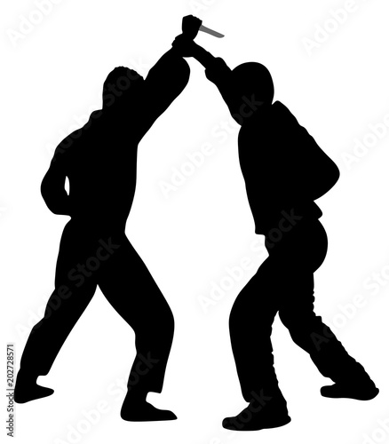 """Self defense battle vector silhouette illustration. Man ..."