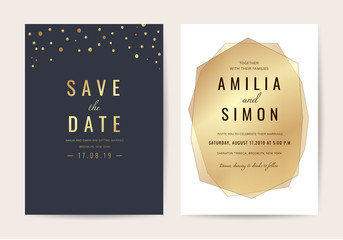 Luxury Invitation card with Geometric shape and Gold texture