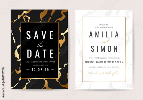 Wedding Invitation Cards With Black Marble Texture And Gold