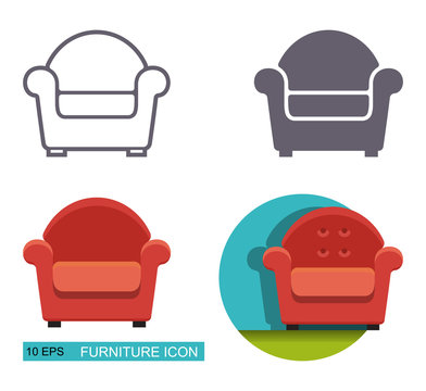 Vector icons of the armchair.