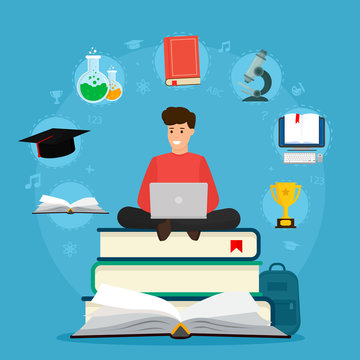 Education. Student sitting on books with laptop. Surfing internet. Concepts of education and e-learning. Vector illustration on blue background.