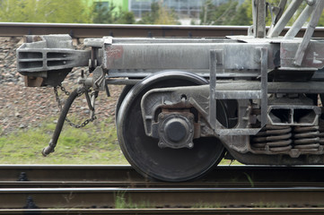 wheels from the train close up