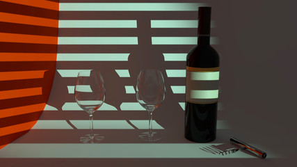 Red wine in the evening, a bottle of red wine two glasses, horizontal shadows from a window blind