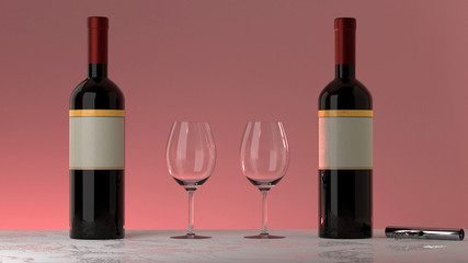 Two bottles of red wine with an elegant blank empty label to put your own logo,  two glasses and a twist and pull opener on a marble table, isolated, pink background