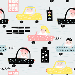 Hand Drawn Seamless Pattern with Cars. Creative Childish Background with Cute City Transportation for Fabric, Textile, Wallpaper, Decoration, Prints. Vector illustration