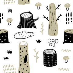 Hand Drawn Seamless Pattern with Forest Trees. Creative Childish Background with Cute Stumps for Fabric, Textile, Wallpaper, Decoration, Prints. Vector illustration