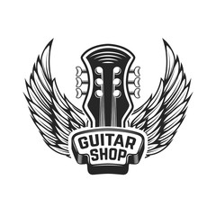 Guitar shop. Guitar head with wings. Rock and roll. Design element for logo, label, emblem, sign.