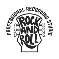 Recording studio. Guitar head with lettering. Rock and roll. Design element for logo, label, emblem, sign.