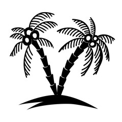 Set of hand drawn palm tree illustrations. Design element for poster, card, banner, t shirt.
