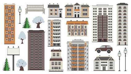 Various city elements in winter time - multistorey houses and municipal buildings, trees in snow, public park and transport isolated on white background. Flat vector illustration.