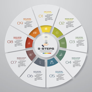 Abstract 9 steps modern pie chart infographics elements.Vector illustration.
