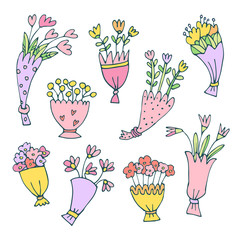 Set of hand drawn colorful bouquet isolated on white background. Vector illustration with flowers in doodle, cartoon style. Concept for decoration, romantic greeting.