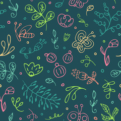 Seamless hand drawn pattern of sketch flowers. Vector illustrations in doodle style.