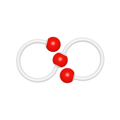 Molecule structure like mathematical infinity symbol on white background, 3D rendered font image