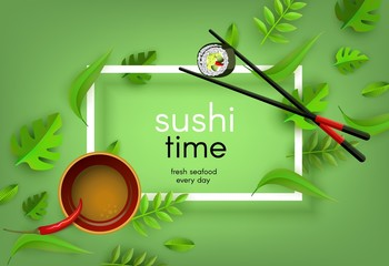 Sushi japanese seafood banner with chopsticks holding fresh roll, bowl with soy sauce and red chili pepper and spice leaves isolated on green gradient background with white frame. Vector illustration.