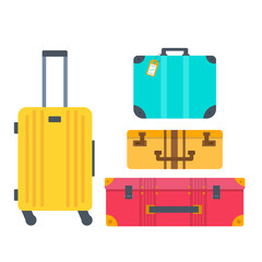 Different types of baggage, luggage, suitcase isolated on white