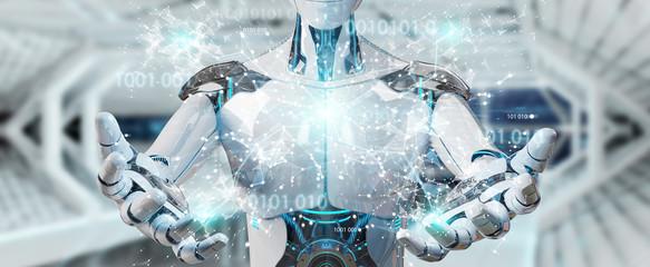 White man humanoid using digital globe hud interface 3D rendering
