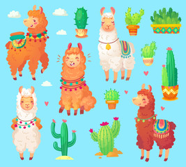 Mexican cartoon cute alpaca lama with white wool. Peru desert llama and cactus isolated. Funny animals vector set