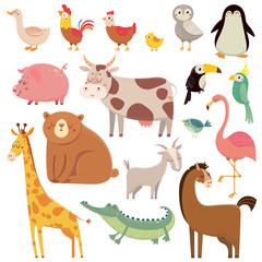 Baby cartoons wild bear, giraffe, crocodile, bird and domestic animals. Cute cartoon animal kids vector illustration set