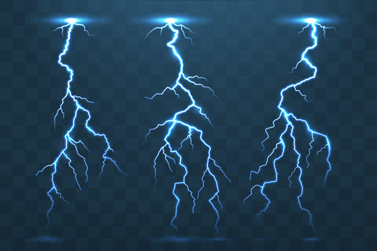 Thunder bolt and lightnings, thunderstorm electricity flash. Electric blue lightning blitz at night stormy sky isolated vector set