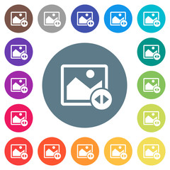 Horizontally move image flat white icons on round color backgrounds