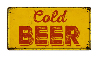 Vintage rusty metal sign on a white background - Cold Beer