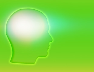 silhouette of a mans head with green background