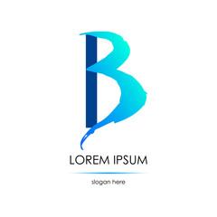 Letter B logo. Smear of a brush.